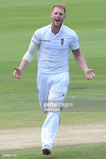 Ben Stokes of England celebrates the wicket of JP Duminy of the Proteas during day 4 of the 4th Test match between South Africa and England at...