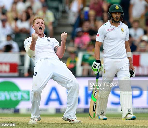 Ben Stokes of England celebrates the wicket of Kagiso Rabada of the Proteas during day 3 of the 3rd Test match between South Africa and England at...