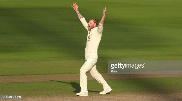 Ben Stokes of England celebrates the wicket of Mohammad Rizwan of Pakistan during Day Three of the 1st #RaiseTheBat Test Match between England and...