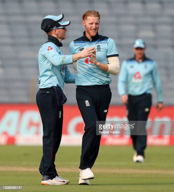 Ben Stokes of England celebrates with Eoin Morgan after dismissing Shikhar Dhawan of India during 1st One Day International between India and England...
