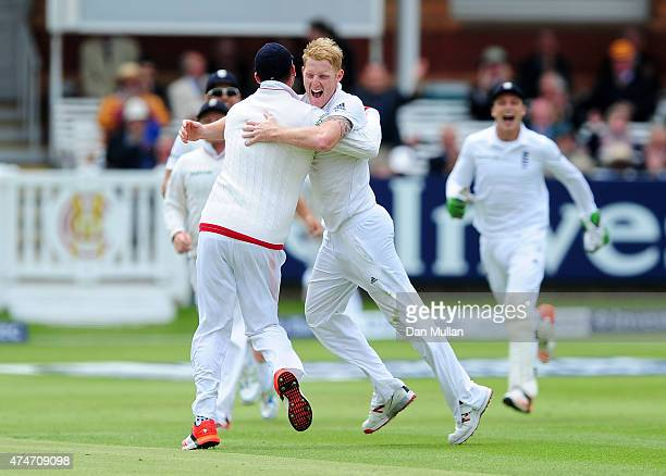 Ben Stokes of England celebrates with his team mates after bowling Brendon McCullum of New Zealand during day five of the 1st Investec Test Match...