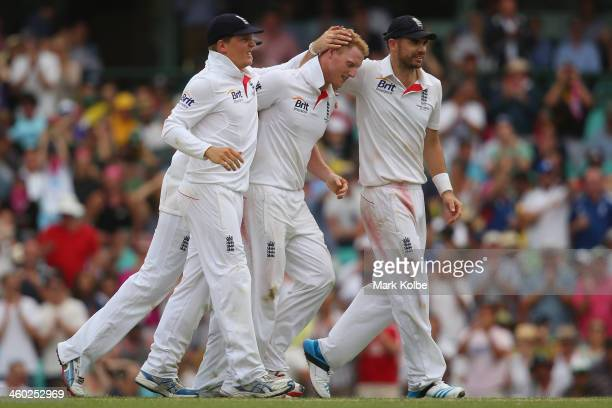 Ben Stokes of England celebrates with his team mates after taking the wicket of Nathan Lyon of Australia during day one of the Fifth Ashes Test match...