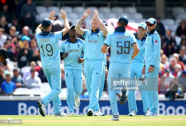Ben Stokes of England celebrates with his teammates after dismissing Noor Ali Zadran of Afghanistan during the ICC Cricket World Cup 2019 Warm Up...