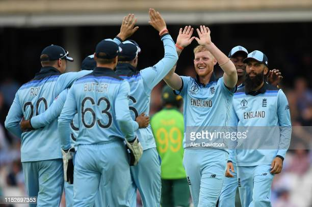 Ben Stokes of England celebrates with his teammates during the Group Stage match of the ICC Cricket World Cup 2019 between England and South Africa...
