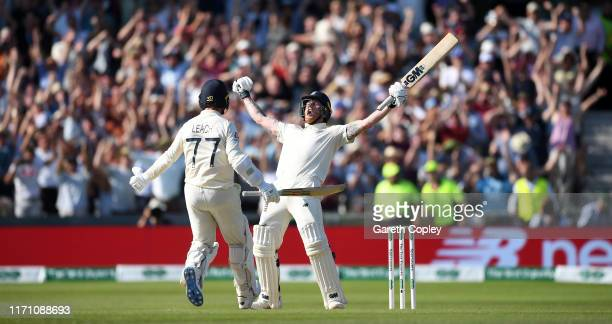 Ben Stokes of England celebrates with Jack Leach after hitting the winning runs to win the 3rd Specsavers Ashes Test match between England and...