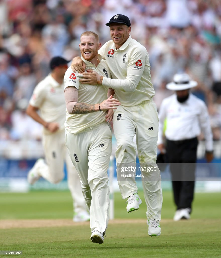 Ben Stokes of England celebrates with Jos Buttler after dismissing Lokesh Rahul of India during day three of Specsavers 1st Test match between England and India at Edgbaston on August 3, 2018 in Birmingham, England.