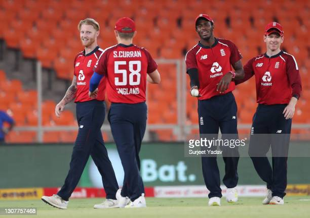 Ben Stokes of England celebrates with Sam Curran, Jofra Archer and Eoin Morgan after dismissing KL Rahul of India during the 4th T20 International...