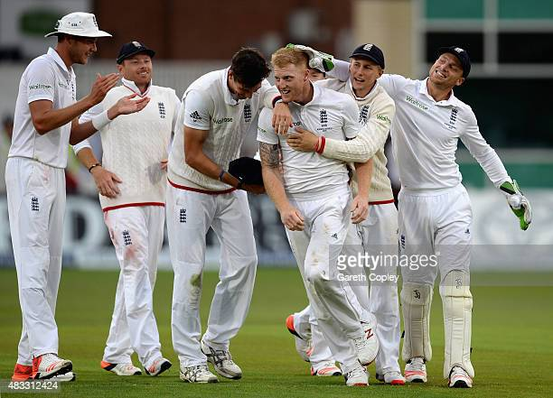 Ben Stokes of England celebrates with teammates after dismissing Mitchell Johnson of Australia during day two of the 4th Investec Ashes Test match...