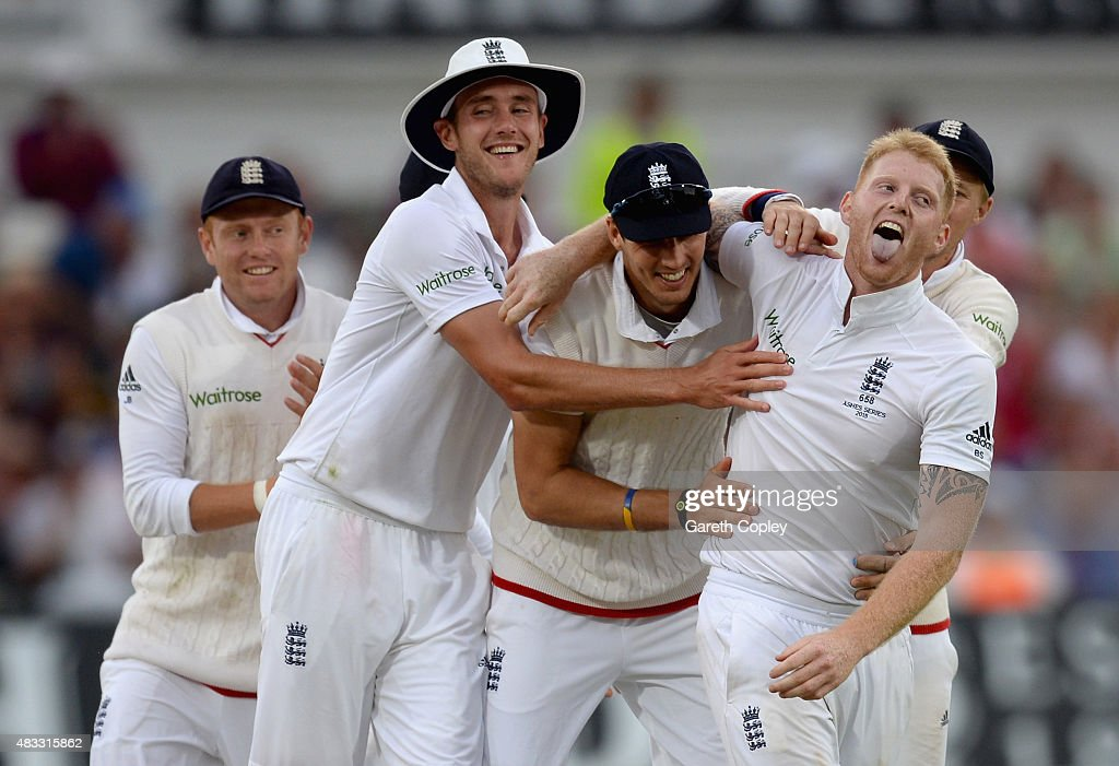 Ben Stokes of England celebrates with teammates Stuart Broad and Steven Finn after dismissing Mitchell Johnson of Australia during day two of the 4th Investec Ashes Test match between England and Australia at Trent Bridge on August 7, 2015 in Nottingham, United Kingdom.