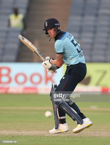 Ben Stokes of England cuts the ball during the 3rd One Day International match between India and England at MCA Stadium on March 28, 2021 in Pune,...