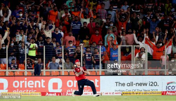 Ben Stokes of England drops a catch to dismiss Ishan Kishan of India during the 2nd T20 International match between India and England at Narendra...