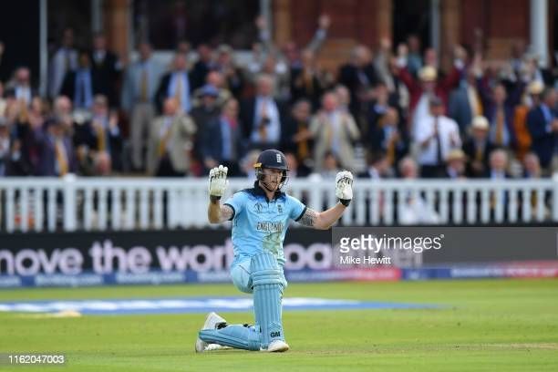 Ben Stokes of England expresses his innocence after accidentally knocking the ball to the boundary during the Final of the ICC Cricket World Cup 2019...