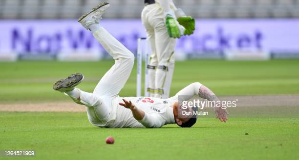 Ben Stokes of England fails to stop a throw at the stumps during Day Three of the 1st #RaiseTheBat Test Match between England and Pakistan at...