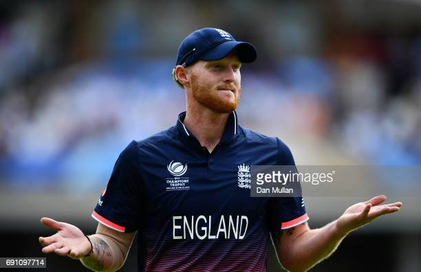 Ben Stokes of England gestures to the crowd during the ICC Champions Trophy Group A match between England and Bangladesh at The Kia Oval on June 1...