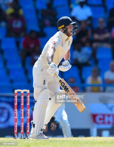 Ben Stokes of England gets hit by Shannon Gabriel of West Indies during day 1 of the 2nd Test between West Indies and England at Vivian Richards...