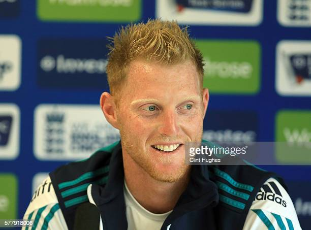 Ben Stokes of England gives a press conference during an England nets session ahead of the 2nd Investec test match between England and Pakistan at...
