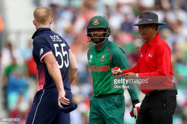 Ben Stokes of England has a heated discussion with Tamim Iqbal of Bangladesh during the ICC Champions trophy cricket match between England and...