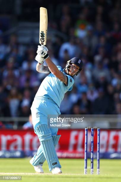 Ben Stokes of England hits a straight six off the bowling of Isuru Udana during the Group Stage match of the ICC Cricket World Cup 2019 between...