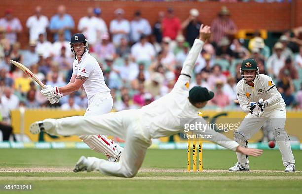 Ben Stokes of England hits bast Steve Smith of Australia during day four of the Second Ashes Test Match between Australia and England at Adelaide...