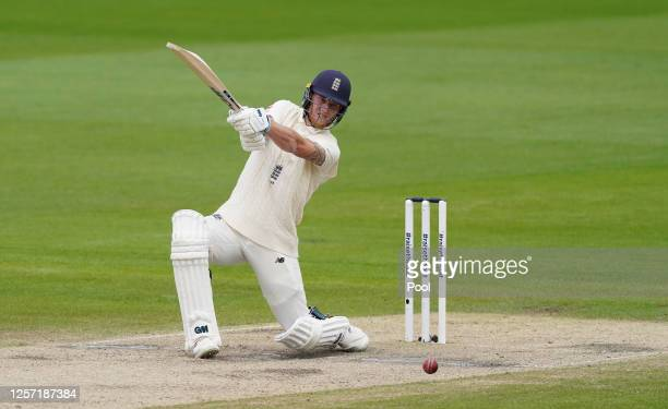 Ben Stokes of England hits out during Day Five of the 2nd Test Match in the #RaiseTheBat Series between England and The West Indies at Emirates Old...
