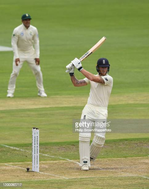 Ben Stokes of England hits out during Day Two of the Third Test between England and South Africa on January 17, 2020 in Port Elizabeth, South Africa.
