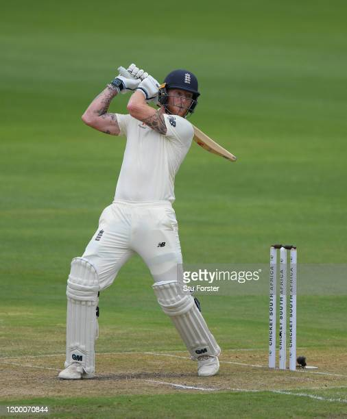 Ben Stokes of England hits out during Day Two of the Third Test between South Africa and England at St George's Park on January 17, 2020 in Port...
