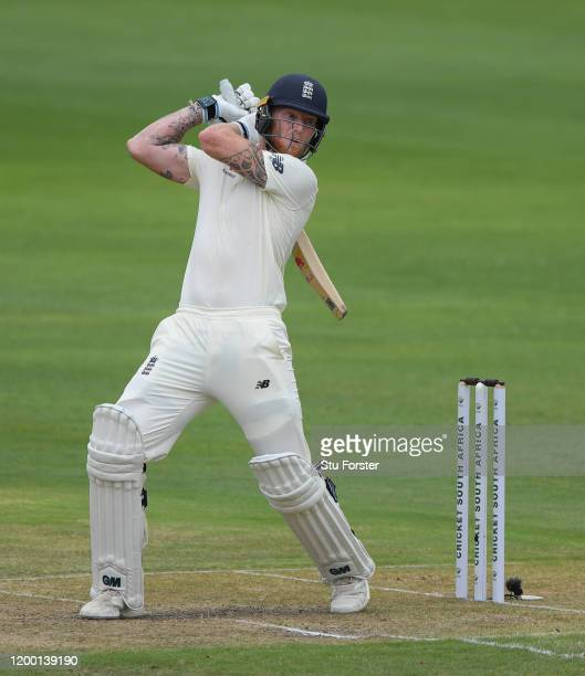 Ben Stokes of England hits out during his century during Day Two of the Third Test between South Africa and England at St George's Park on January...
