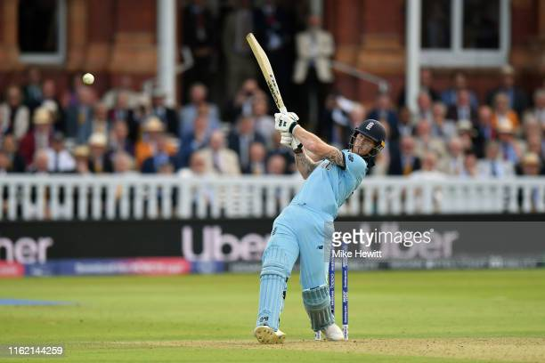 Ben Stokes of England hits out during the Final of the ICC Cricket World Cup 2019 between England and New Zealand at Lord's Cricket Ground on July...