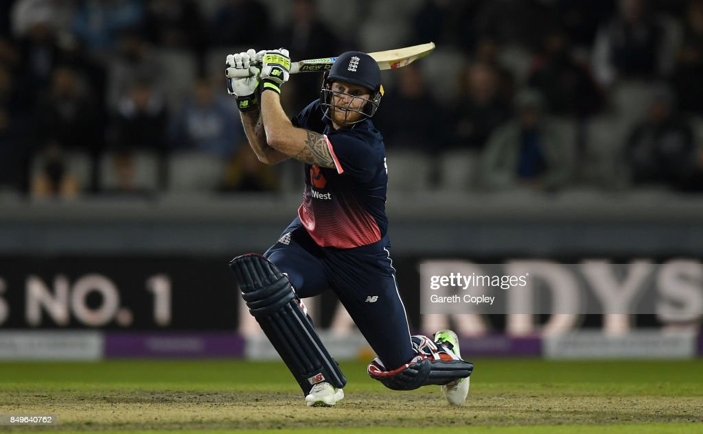 Ben Stokes of England hits out for six runs during the 1st Royal London One Day International match between England and the West Indies at Old Trafford on September 19, 2017 in Manchester, England.