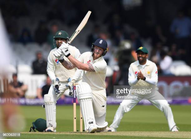 Ben Stokes of England hits out six runs during the NatWest 1st Test match between England and Pakistan at Lord's Cricket Ground on May 24 2018 in...