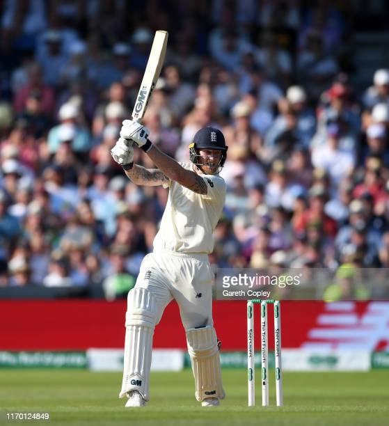 Ben Stokes of England hits the winning runs to win the 3rd Specsavers Ashes Test match between England and Australia at Headingley on August 25 2019...