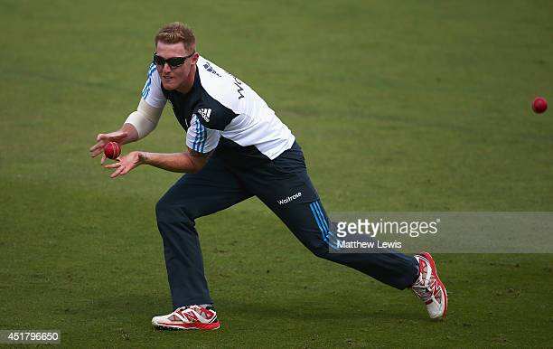 Ben Stokes of England in action during an England nets session at Trent Bridge on July 7 2014 in Nottingham England