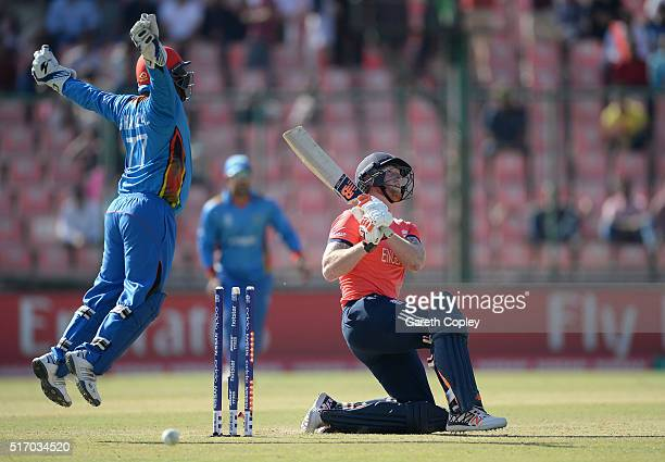 Ben Stokes of England is bowled by Rashid Khan of Afghanistan during the ICC World Twenty20 India 2016 Group 1 match between England and Afghanistan...