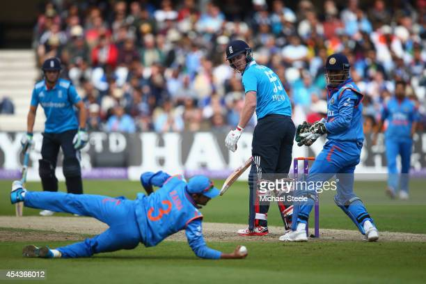 Ben Stokes of England is caught at slip by Suresh Raina of India off the bowling of Ravichandran Ashwin during the third Royal London OneDay Series...