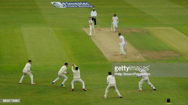 Ben Stokes of England is caught by Mark Craig of New Zealand off the bowling of Trent Boult for 6 runs during the 2nd Test match between England and...