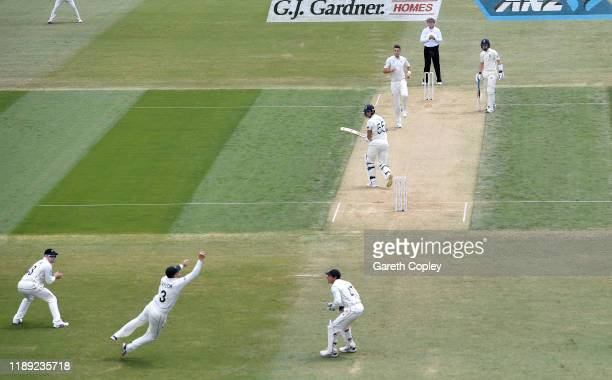 Ben Stokes of England is caught out by Ross Taylor of New Zealand from the bowling of Tim Southee during day two of the first Test match between New...