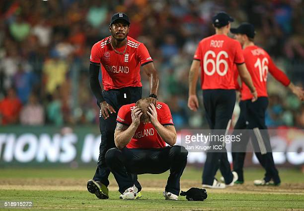 Ben Stokes of England is comforted by Chris Jordan during the ICC World Twenty20 India 2016 final match between England and West Indies at Eden...