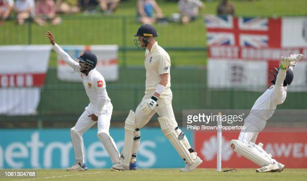 Ben Stokes of England is dismissed during the 2nd Cricket Test Match between Sri Lanka and England at Pallekele Cricket Stadium on November 14 2018...