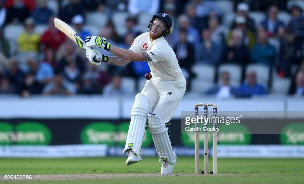 Ben Stokes of England is hit by a ball from Kagiso Rabada of South Africa during day one of the 4th Investec Test between England and South Africa at...