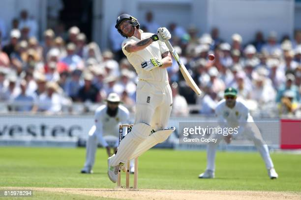 Ben Stokes of England is hit by a ball from Morne Morkel of South Africa during day four of the 2nd Investec Test match between England and South...