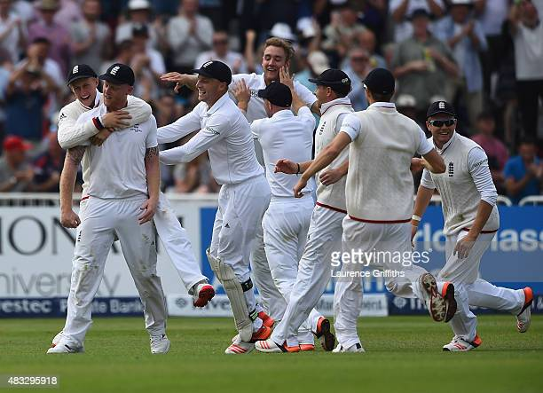 Ben Stokes of England is mobbed after catching Steve Smith of Australia off the bowling of Stuart Broad during day two of the 4th Investec Ashes Test...