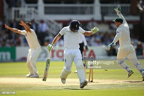 Ben Stokes of England is run out by Mitchell Johnson of Australia during day four of the 2nd Investec Ashes Test match between England and Australia...