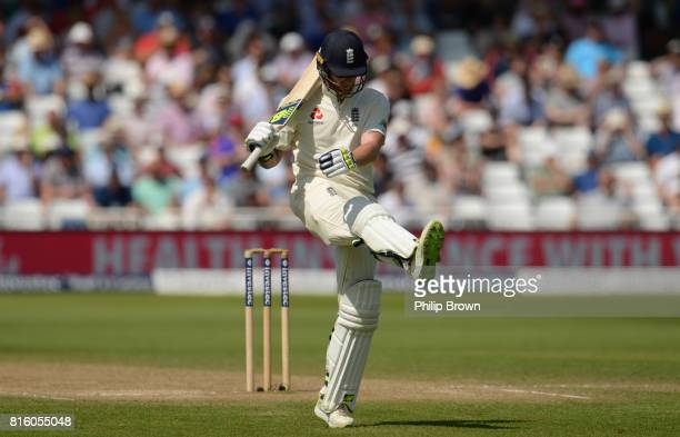 Ben Stokes of England kicks the ground as he leaves the field after being dismissed during the fourth day of the 2nd Investec Test match between...
