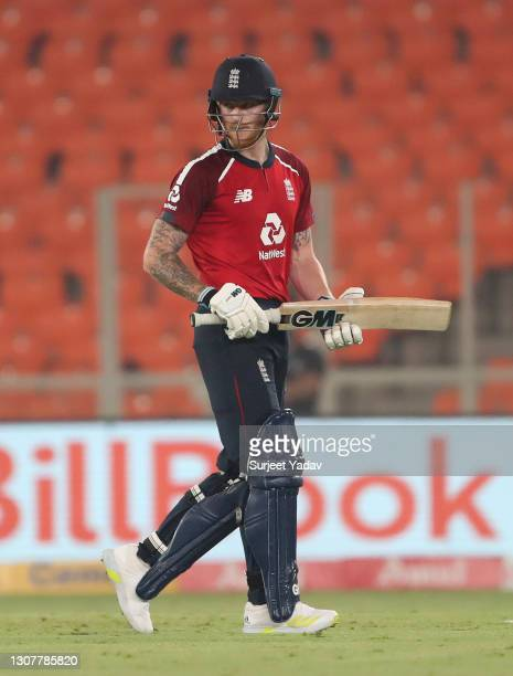Ben Stokes of England leaves the field after being dismissed by Shardul Thakur of India during the 4th T20 International between India and England at...