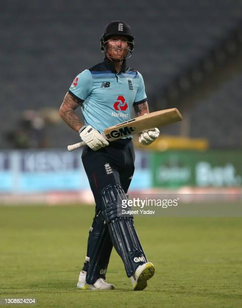 Ben Stokes of England leaves the field after being dismissed by Prasidh Krishna of India during 1st One Day International between India and England...