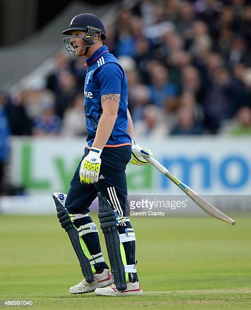 Ben Stokes of England leaves the field after being given out for disrupting the field during the 2nd Royal London OneDay International match between...