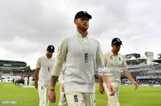 Ben Stokes of England leaves the field as rain delays play during day one of the 3rd Investec Test Match between England and the West Indies at...