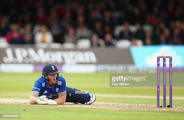 Ben Stokes of England looks back at his wicket after diving to make his ground subsequently being given out for obstruction off the bowling of...