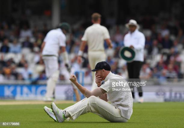 Ben Stokes of England looks frustrated after a missed chance to take a catch during day three of the 3rd Investec Test match between England and...