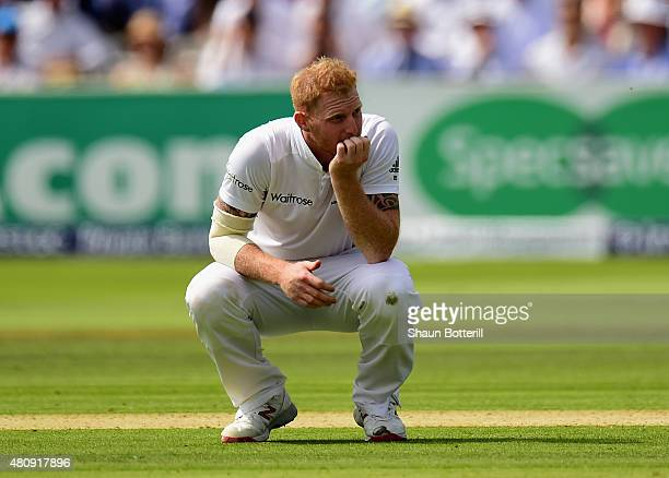 Ben Stokes of England looks frustrated during day one of the 2nd Investec Ashes Test match between England and Australia at Lord's Cricket Ground on...